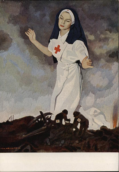 Nurse & Military Cannon WWII Italian Red Cross