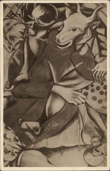 Goat Headed Leaning on Table My Bride Dedicated Marc Chagall
