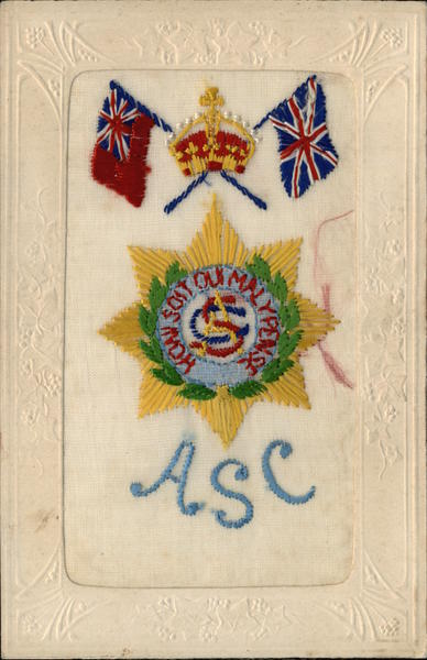 Embroidered Silk ASC  Army Service Corps World War I
