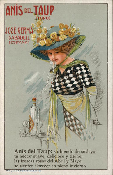 Lady Drinking from Glass Advert Anise Spanish Advertising