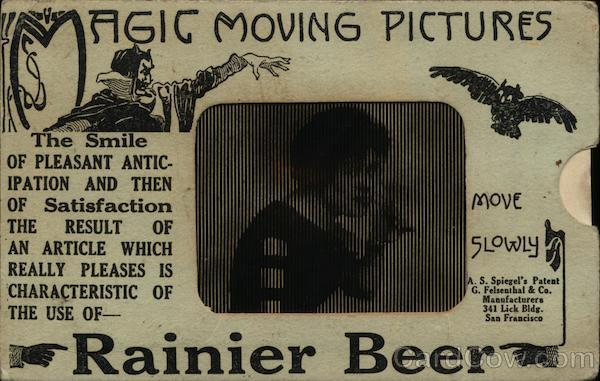 Rainier Beer Moving Picture Novelty Advertising