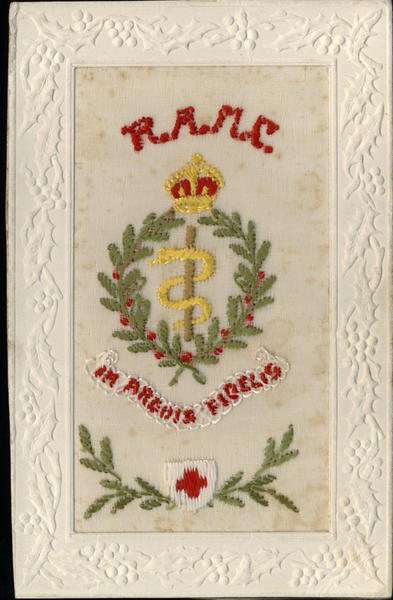 Royal Army Medical Corps Snake Embroidered Silk World War I