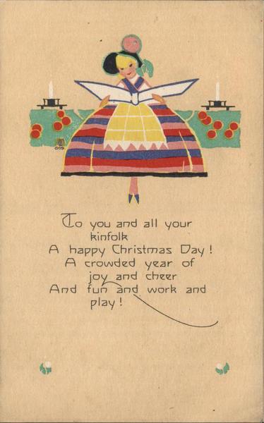 Reading Girl Christmas Poem Volland