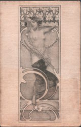 Original Mucha Printed Silk Woman with Lillies Nude Postcard