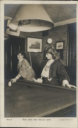 Actress Zena Dare and Pyllis Dare Playing Pool Postcard