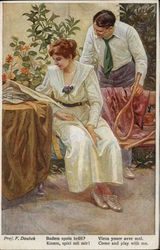 Tennis Couple by the Rose Bush