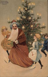 Rare: Kirchner Santa Claus with Children Postcard