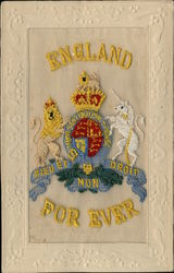Embroidered Silk Lion Unicorn England Crest