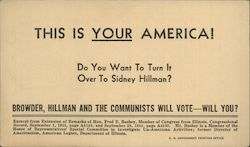 Anti-Socialist Hillman Communists Vote Postcard