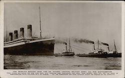 Ocean Liner Titanic with Tugboats