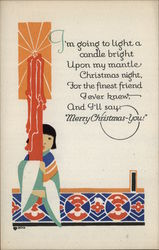 Girl Holding Huge Candle Christmas Volland Poem