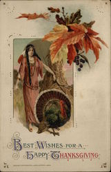 Indian Maiden Walking Turkey Postcard