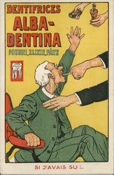 Tooth Pulling & Advert Alba-Dentina Powder Postcard