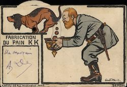German Soldier Collecting Dog Poop in Helmet