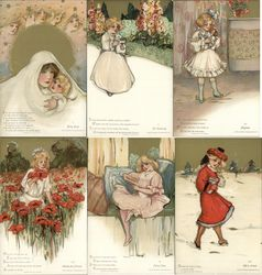 Rare Set of 6 Childhood Days Postcard