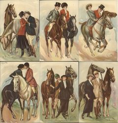Set of 6 Italian Art Deco Love & Horses