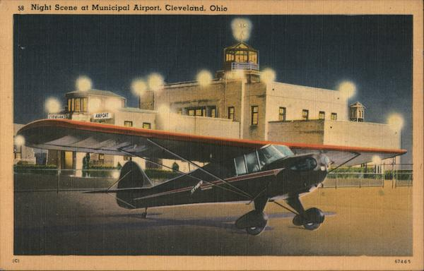 Night Scene at Municipal Airport Cleveland Ohio