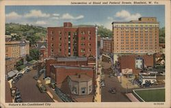 Nature's Air-Conditioned City, Intersection of Bland and Federal Streets, Bluefield, W. Va. Postcard