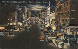 Main St. at Night, from Market Square Postcard