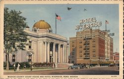 Washoe County Court House and Hotel Riverside Postcard
