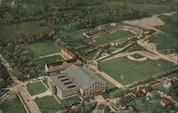 Aerial View of Athletic Department of Purdue University Postcard