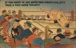 Wrestling, Comic Postcard