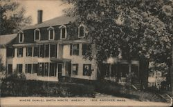 "Where Samuel Smith Wrote ""America"" 1832 Postcard"