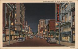 Chillicothe Street at Night Postcard