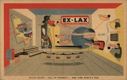 Ex-Lax Exhibit, Hall of Pharmacy, New York World's Fair Postcard