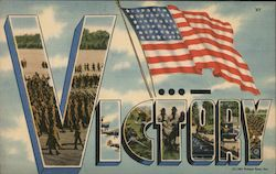 Victory. American Flag. 1941 Postcard