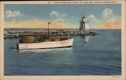 Light House and Inlet on Lake Erie Postcard