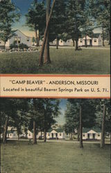 Camp Beaver, located in beautiful Beaver Springs Park, Anderson, Missouri Postcard