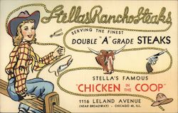 Stellas Rancho Steaks Postcard