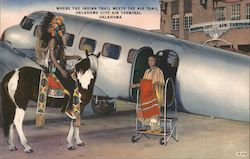 Where the Indian Trail meets the Air Trail Oklahoma City Air Terminal Postcard