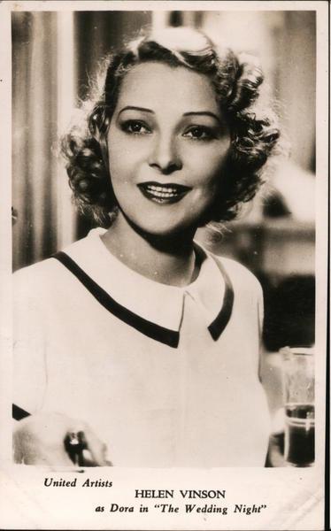 Helen Vinson as Dora in The Wedding Night Actresses