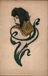 Woman's Head Growing In A Flower, Hand Colored Postcard