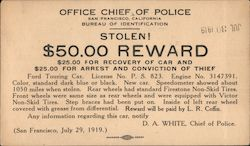 Stolen! $50.00 Reward. Stolen car report from S.F. Chief of Police, 1919 Postcard