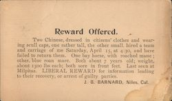 Reward Offered. 1899 Sheriff's Notice about stolen horses and carriage. Postcard