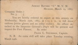 "Order for Armory Battery ""C"" to report for inspection, 1885"