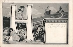 Large letter H with children and windmill on a hill Postcard