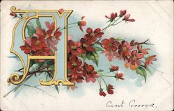 """A"" With Red Flowers Postcard"