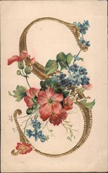 "Gold ""S"" With Pink and Blue Flowers Postcard"