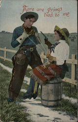 There Are Strings Tied To Me - cowboy romance Postcard