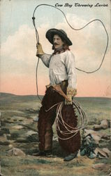 Cow Boy Throwing Lariet Postcard