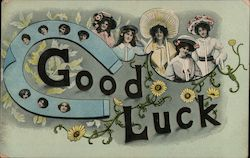 Good Luck. (Horseshoe and ladies.) Postcard