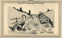 I Fell In Soft Here Postcard