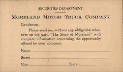 Order form for stock investment information, Moreland Motor Truck Company Postcard
