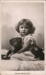 """Playmates"": girl and dachshund dog Postcard"