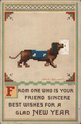 From One Who Is Your Friend Sincere, Best Wishes For A Glad New Year Postcard