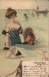Ladies swimmig in the ocean Postcard